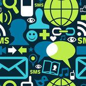 Patrón de iconos de la red de medios sociales — Vector de stock
