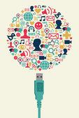Social media icons in Globe shape with USB plug — Stock Vector