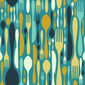Seamless cutlery pattern in blue — Stock Vector