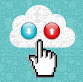 Cloud computing button and cursor hand. — Stock Vector