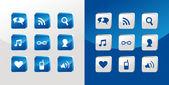 Social-media-symbole-glas — Stockvektor