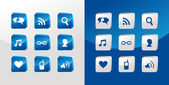 Sociale media pictogrammen glas — Stockvector