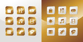 Entertainment gold icons set — Stock Vector