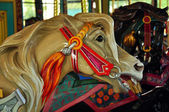 Wooden carousel horse — Stock Photo