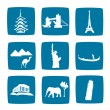 Tourist destinations icons set — Stock Photo