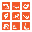 Icons set of yoga postures - Foto Stock