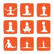 Nine icons set of girl practicing yoga postures - Zdjcie stockowe