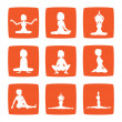 Nine icons set of girl practicing yoga postures -  