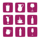 Collection of drinking icons and symbols — Stock Photo
