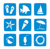 Summer vacations icon set — Stock Photo