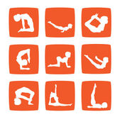 Icons set of yoga postures — Stock Photo