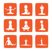 Nine icons set of girl practicing yoga postures — Stock Photo