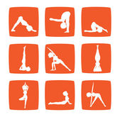Icons set of cartoon girl practicing yoga — Stock Photo