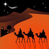 经典三魔术场景和伯利恒闪亮之星. — 图库矢量图片