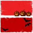 Stock Vector: Halloween background with moon and bats