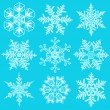 Cold crystal gradient snowflakes - vector set — Stock Vector