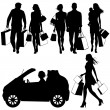 Several , shopping - vector silhouettes — Stock Vector #7473421