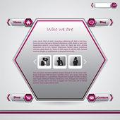 Hexagon website template — Stock Vector