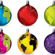 Shiny christmas decorations with world map — Stock Vector