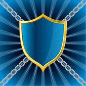 Shield on bursting background — Stock Vector