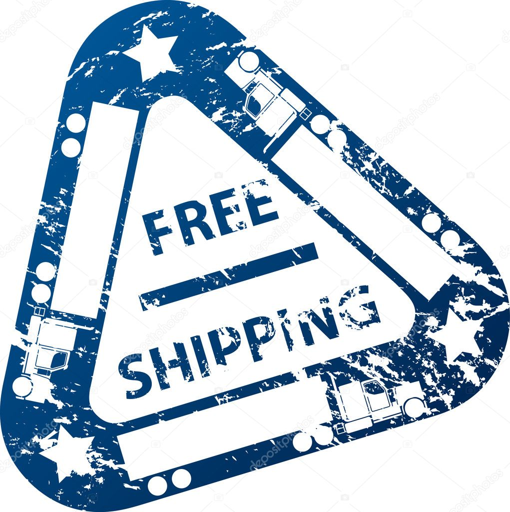 Free shipping stamp design with truck and trailer — Stock Vector #7867144