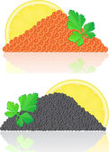 Red and black caviar with lemon and parsley — Stock Photo