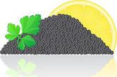 Black caviar with lemon and parsley — Stock Photo