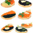 Sandwich with red and black caviar - Stock Photo