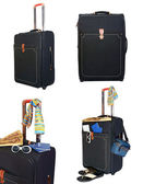 Black suitcase trips and accessories for rest — Stock Photo