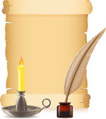Old paper conflagrant candle and feather with inks — Stock Vector