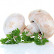 Champignon mushroom and parsley — Stock Photo