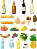 Set icons of foods — Stock Vector