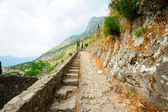 Ancient Kotor - stairs of the old fortress — Stock Photo