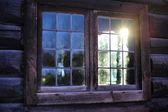 Okno norský chýše — Stock fotografie