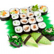 Sushi set - Different types of maki sushi and rolls — Stockfoto