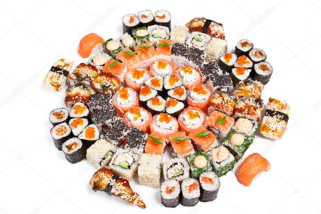 sushi set verschiedene arten von maki sushi und rollen stockfoto heckmannoleg 7451637. Black Bedroom Furniture Sets. Home Design Ideas