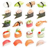 Conjunto sushi - diferentes tipos de sushes isoladas em branco backgrou — Foto Stock