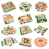 Sushi set - Different types of maki sushi and rolls — Stock Photo