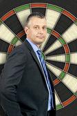 Business man dartboard — Stock Photo