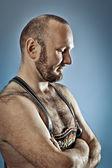 Hombre peludo con barba — Foto de Stock