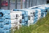 Tires as a fence — Stock Photo