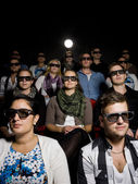 Wearing 3d glasses at cinema — Stock Photo
