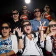Stock Photo: Scared movie spectators