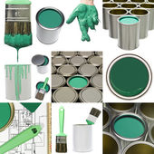 Green painting objects — Stock Photo