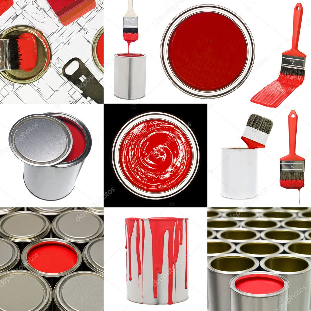 Collage of Red painting objects — Stock Photo #7458941