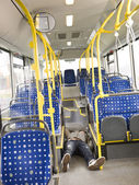 Lieing on the bus — Stock Photo