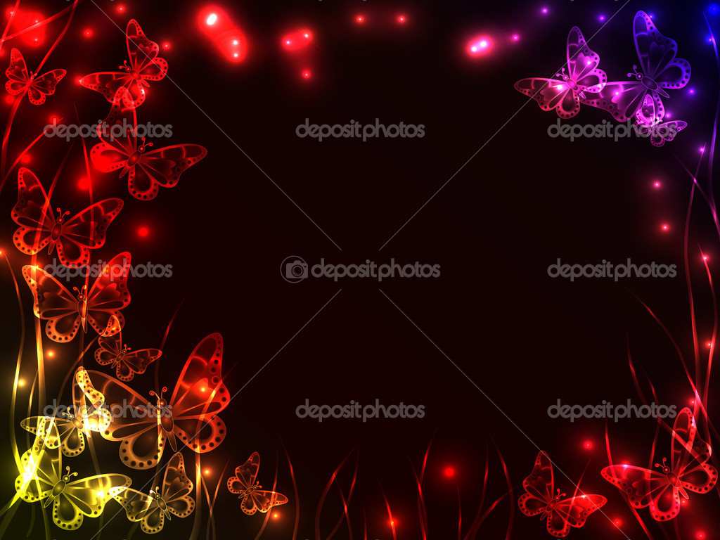 Beautiful plasma background with colorful flying butterflies, grass and burst of light with copy space.  Stock Vector #6800459