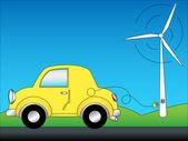Ekologicznych samochodów i windturbine — Wektor stockowy