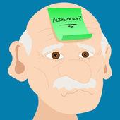 Senior man with Alzheimer sticky note — Stock Vector
