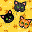 Seamless cartoon cat pattern over yellow — Stock Vector